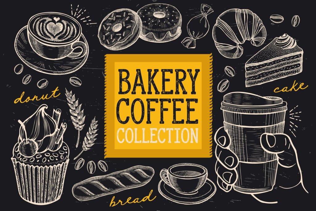 黑白手绘烘焙和咖啡涂鸦装饰图案素材Bakery Coffee Doodle Elements插图