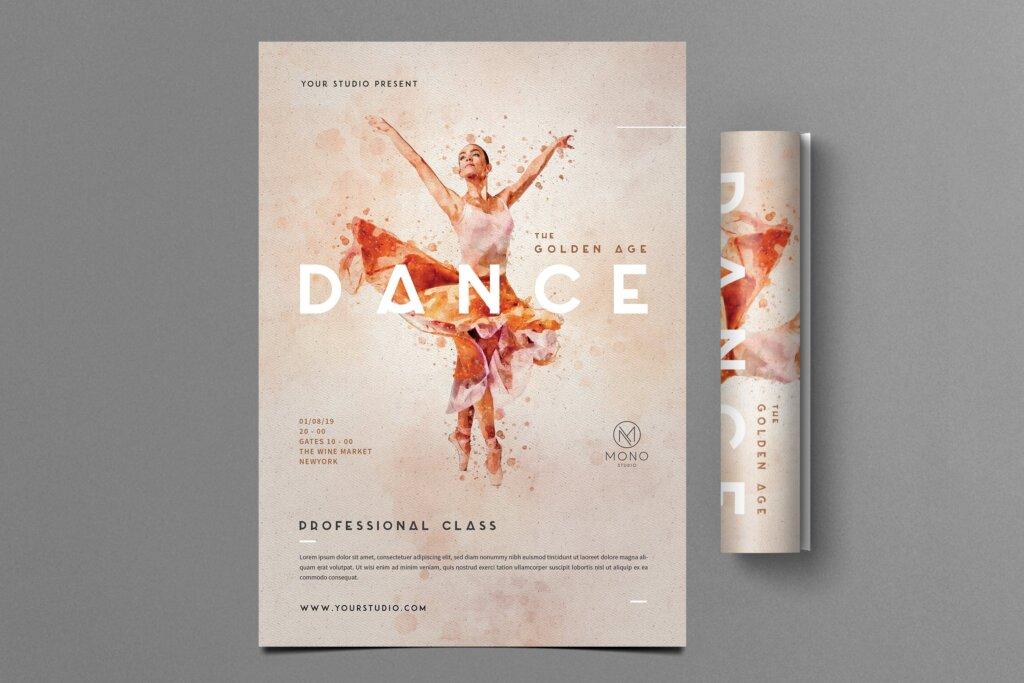 水墨风格芭蕾舞蹈传单海报传单模板素材下载Ballet Dance Flyer插图