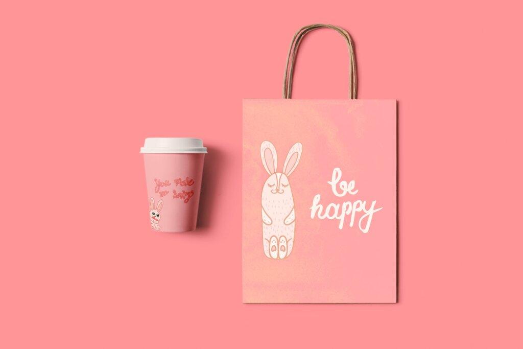 电商购物袋包装图案/情侣T恤装饰图案纹理素材Be Happy MFP499插图