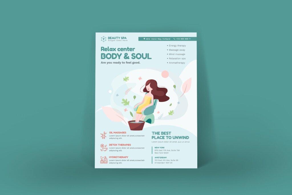 简约设计美容Spa产品介绍传单海报模板素材Beauty Spa Poster PSD Template插图