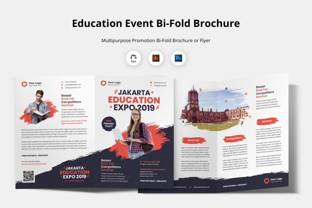 企业商务小册子/双折页小册子模板活动传单Bifold Brochure Template Education Flyer插图
