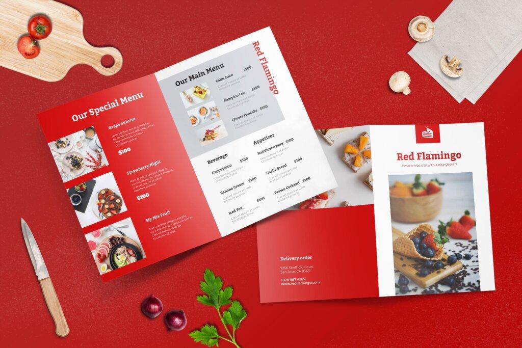 双折页餐厅菜单模板传单海报素材下载Bifold Restaurant Menu Template插图