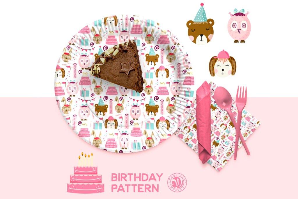 儿童生日快乐剪贴画装饰图案元素下载Birthday Pattern STHMFB插图