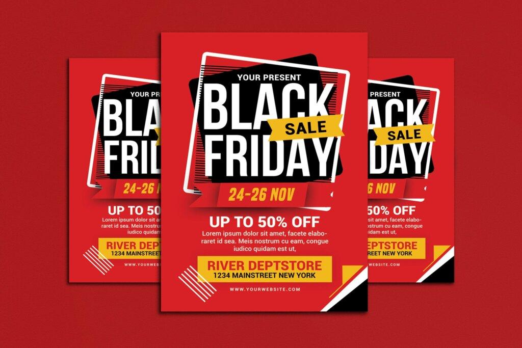 黑色星期五促销活动传单海报模版素材2M4WJM插图