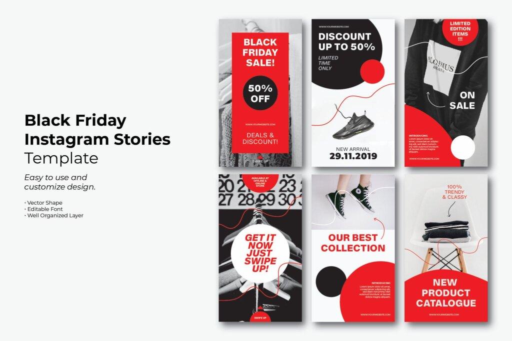 黑色星期垫子商务线上营销活动传单海报模板素材下载Black Friday Simple Instagram Story插图