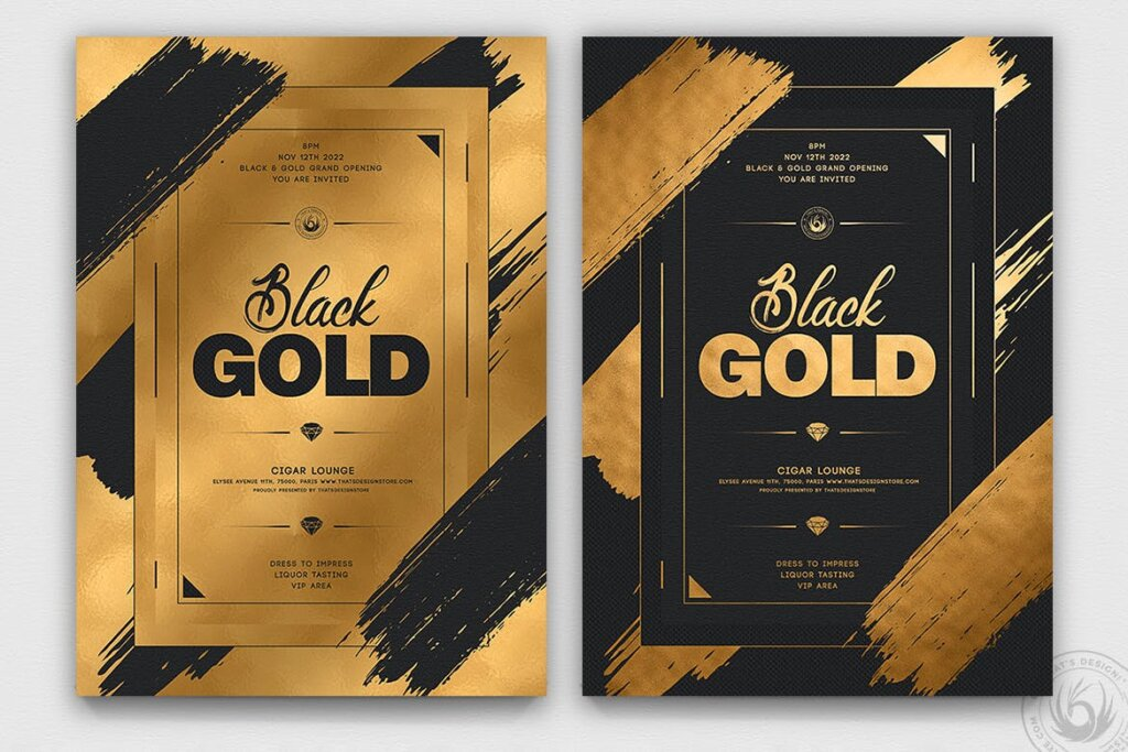 黑色金色烫金传单海报模板素材下载Black and Gold Flyer Template V15插图