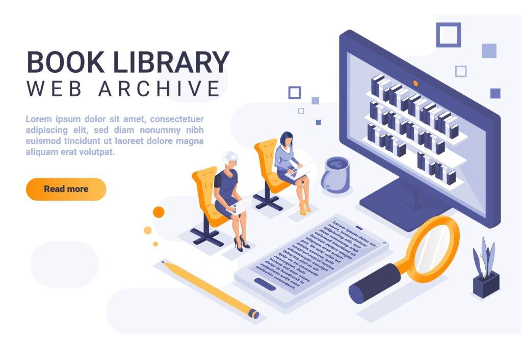 图书馆登录页面矢量模板等距插图素材Book Library Isometric Header Flat Concept插图