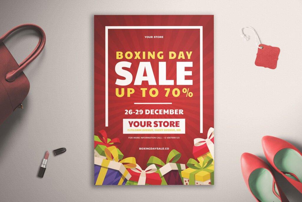 年中活动大促海报促销活动模版素材下载Boxing Day Sale Flyer Vol. 01插图