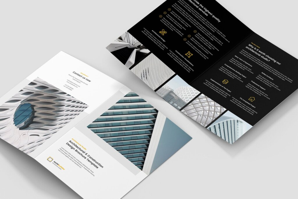 建筑工作室投资组合三折页模板素材下载Brochure Architect Bi Fold插图