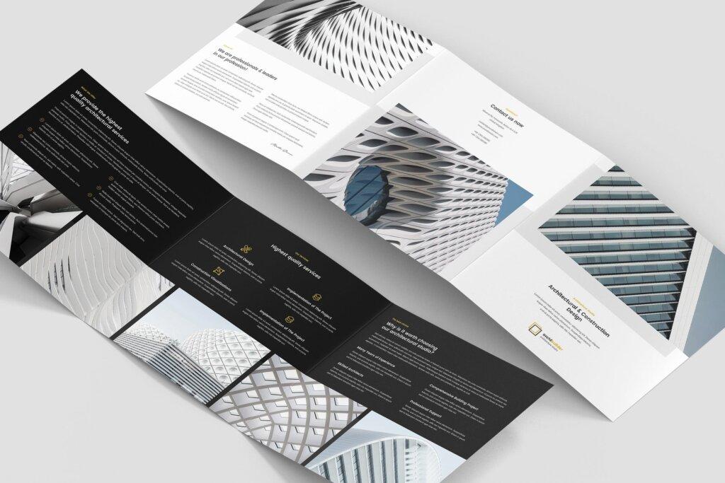 工业建筑设计工作室产品宣传折页模版素材下载Brochure Architect Tri Fold Square插图