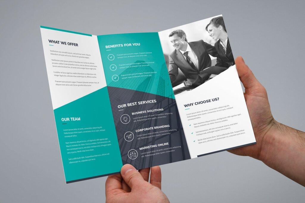 创意营销机构产品折页手册模版素材下载Brochure Corporate Tri Fold插图