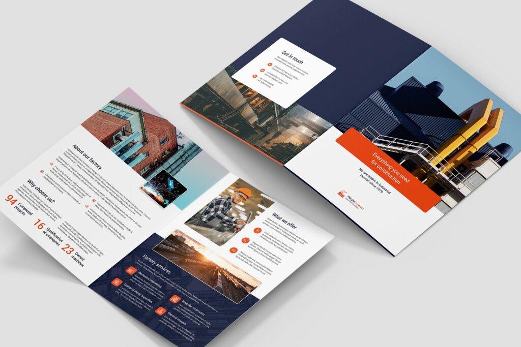 工业化生产市场营销品牌宣传模版素材下载Brochure Factory Bi Fold插图