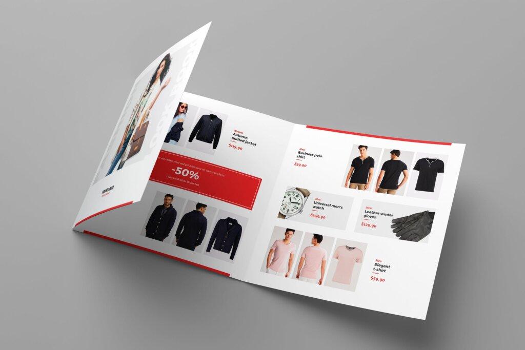 服装大促销宣传折页模版素材下载Brochure Fashion Look Book Tri Fold Square插图