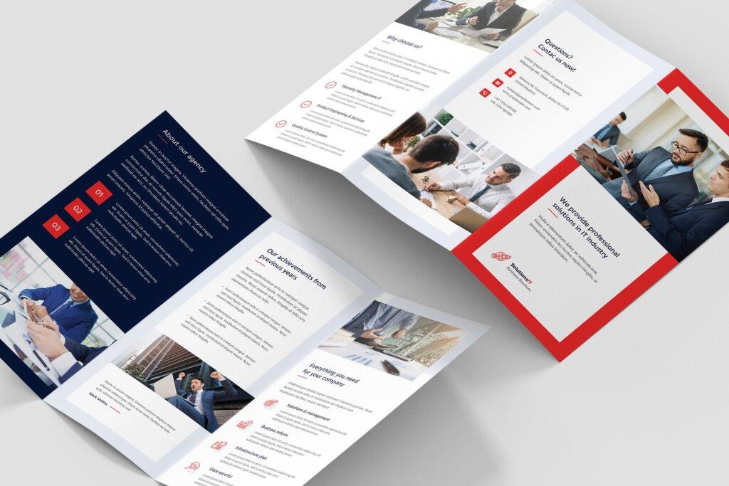 IT解决方案企业策划营销三折页模版素材下载Brochure IT Solutions Tri Fold插图