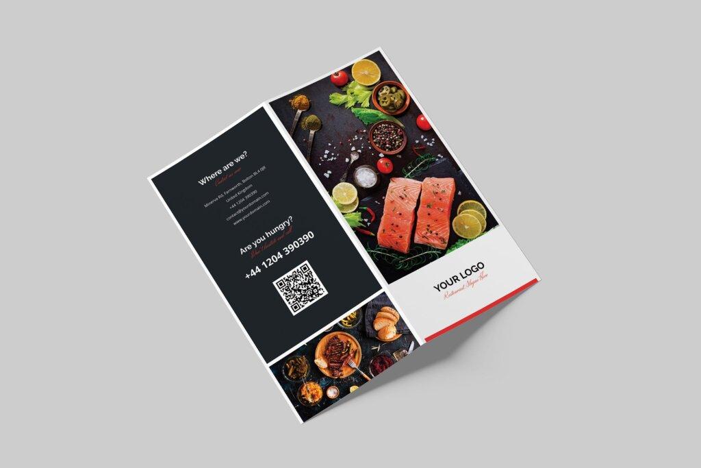 酒馆餐饮店两折页传单模版素材下载Brochure Restaurant Bi Fold DL插图