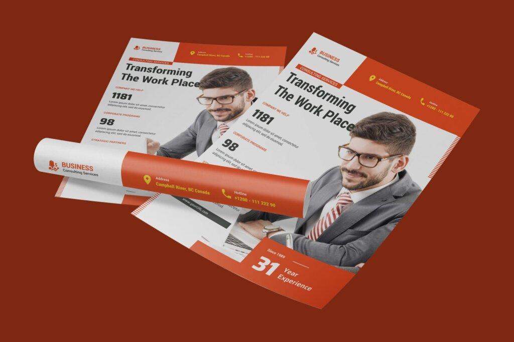 财务咨询公司保险行业传单海报模版素材下载U5ACX8B插图