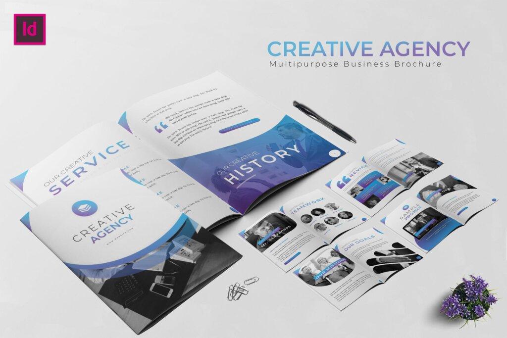 精致文艺企业商务宣传手册模版素材下载Business Agency Brochure插图