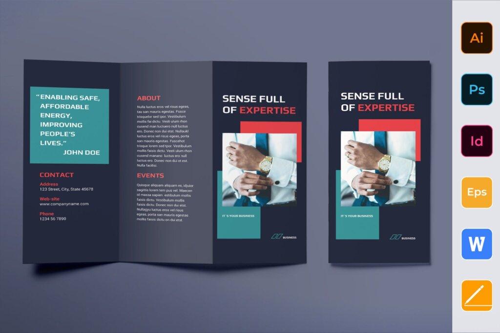 企业商务产品介绍传单折页模板素材下载Business Consultant Brochure Trifold插图
