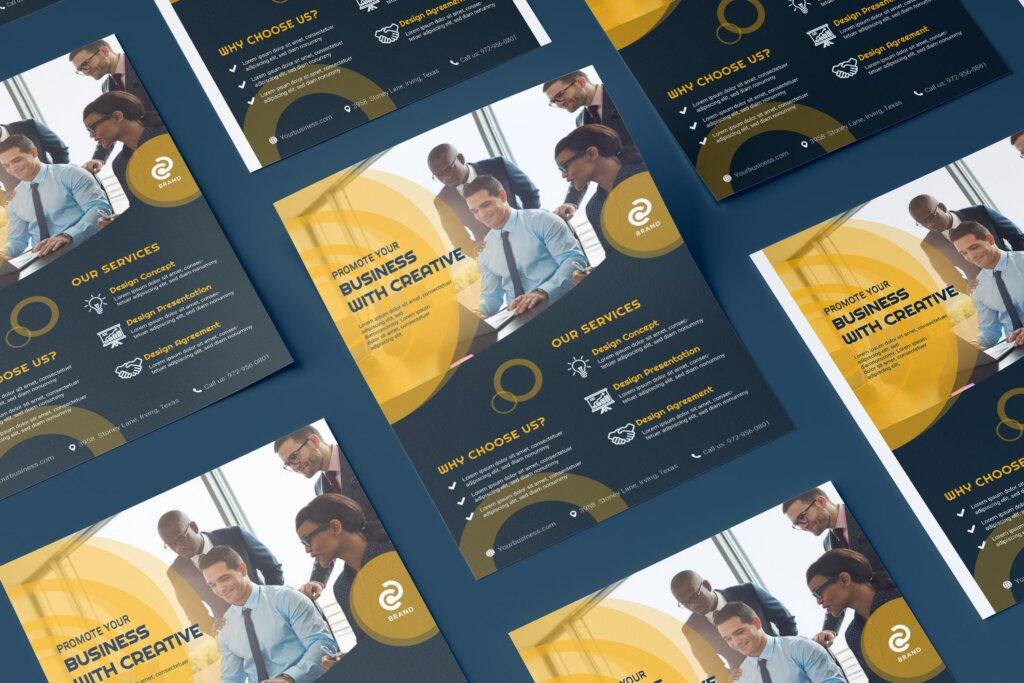 财务顾问咨询公司保险传单海报模板素材下载Business Corporate Flyer Illustration Template插图