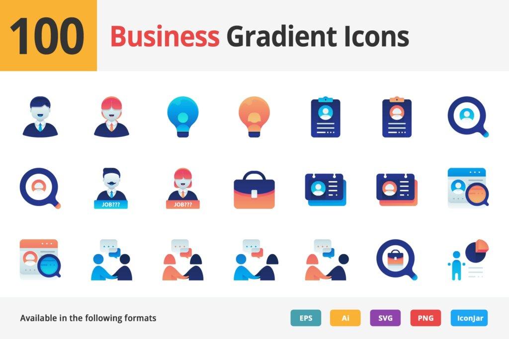 100个图标素材组织管理图标源文件素材下载Business Employment Vector Gradient Icons插图