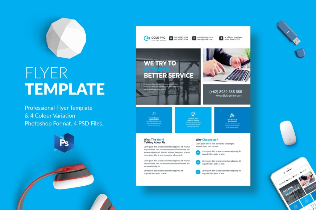 蓝色企业商务营销产品介绍模板素材下载Business Flyer Template 28插图