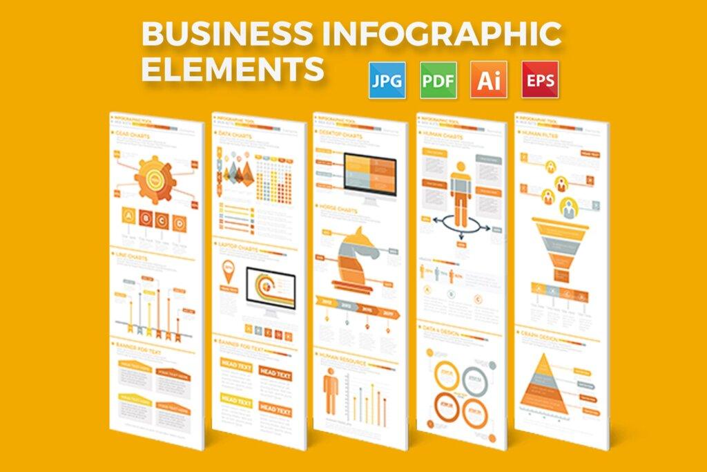 精致商务信息图表元素素材模板素材下载Business Infographics Elements插图