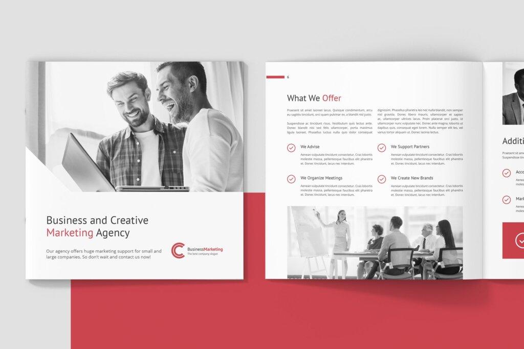 企业商务宣传手册模版素材下载Business Marketing Company Profile Square插图