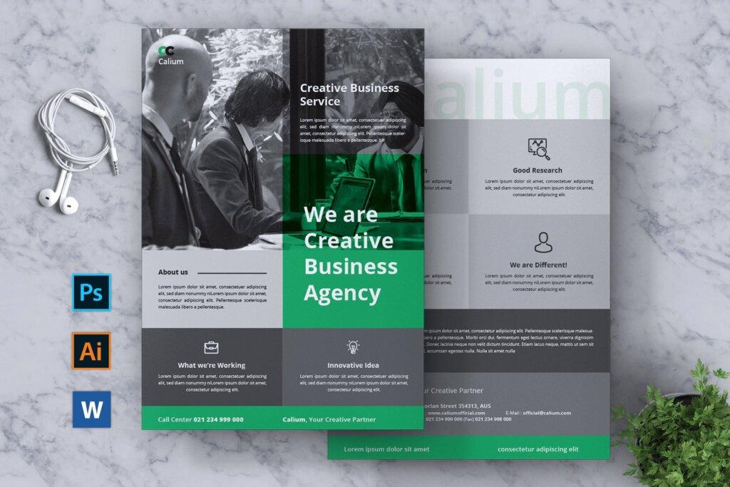 高端精致企业品牌宣传市场模版素材下载CALIUM Corporate Business Flyer插图