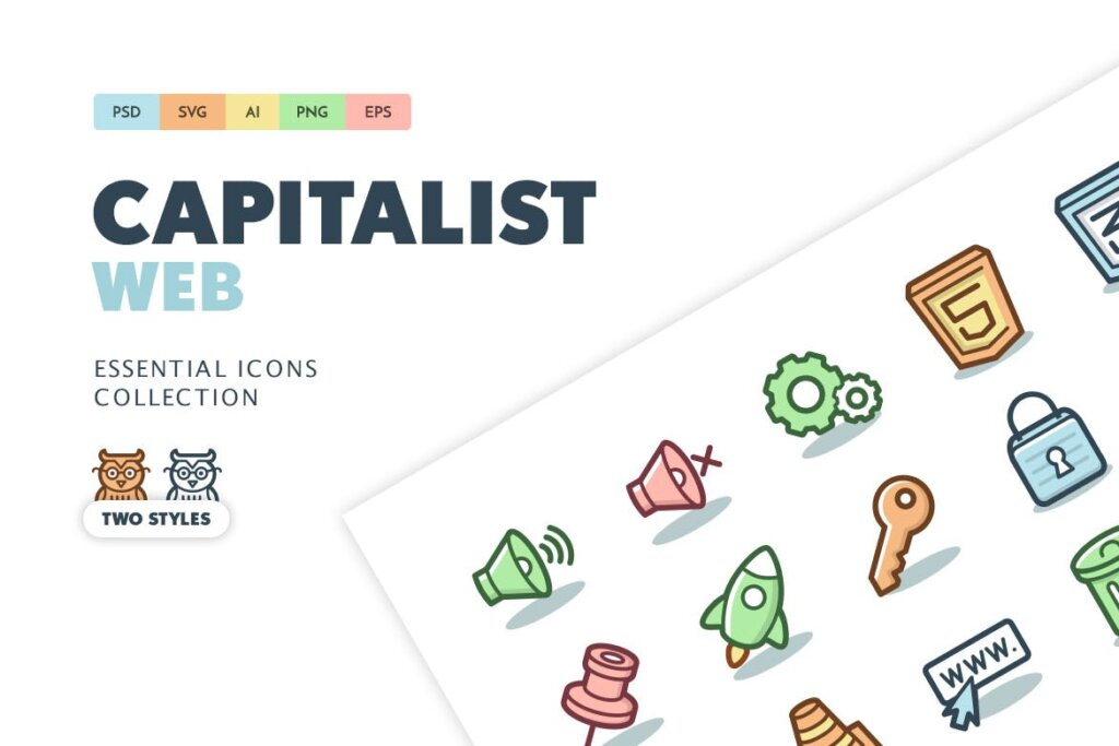 电脑桌面系统图标线性源文件图标下载Capitalist Icons Web Essentials插图