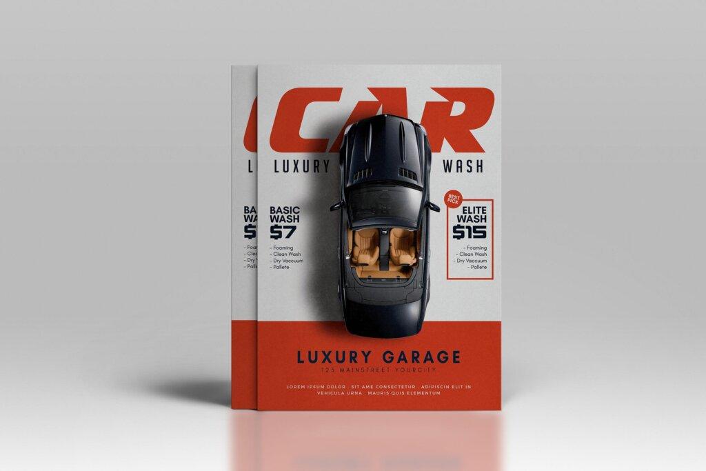 洗车传单活动促销海报传单模版素材下载SHF7R3T插图