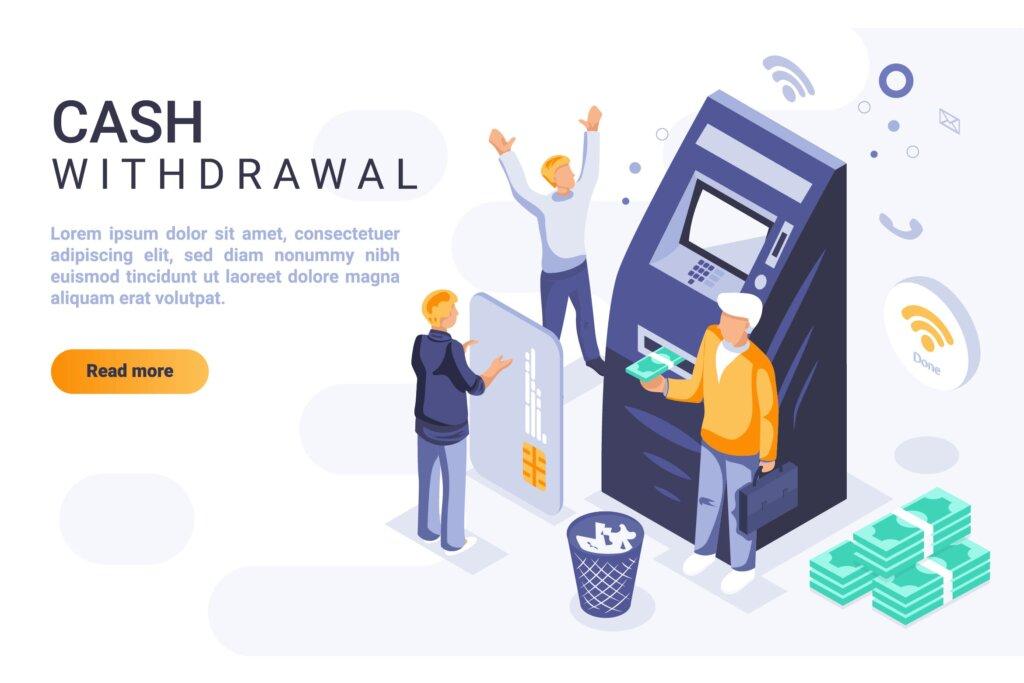 金融货币金融交易网页布局操作插图素材下载Cash Withdrawal Isometric Header Flat Concept插图