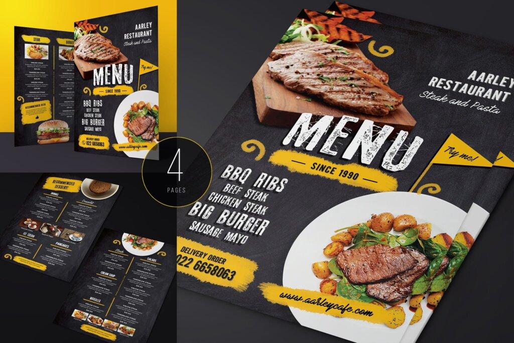 西餐牛排黑色高端轻奢菜单传单海报模板下载Chalkboard Cafe MenuJV87KW5插图