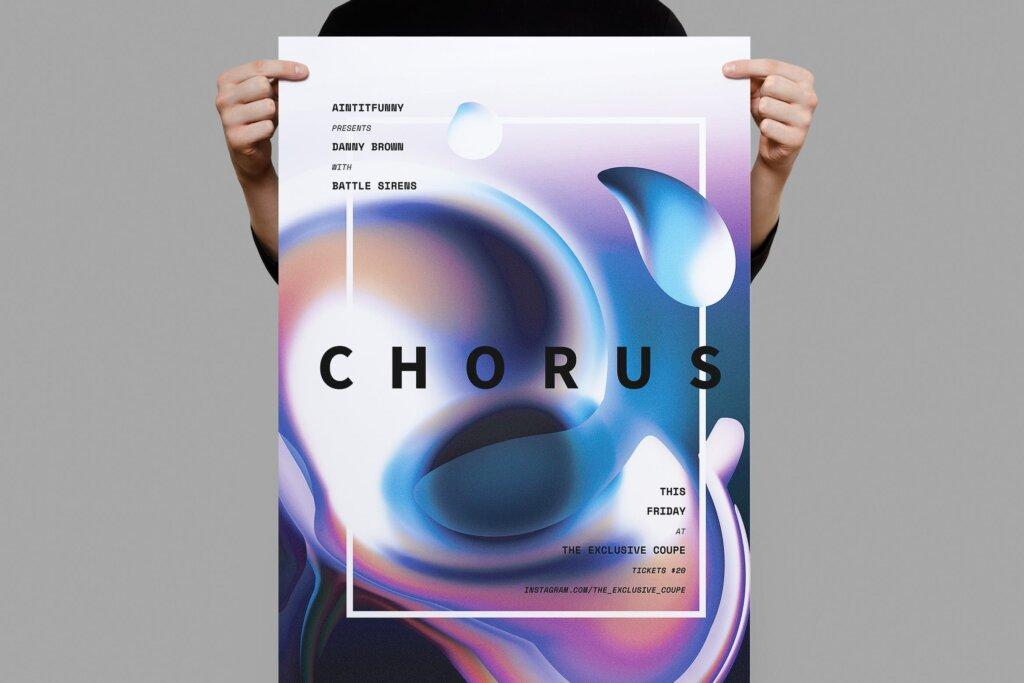 金属液态纹理背景产品发布会海报传单模板Chorus Poster Flyer插图