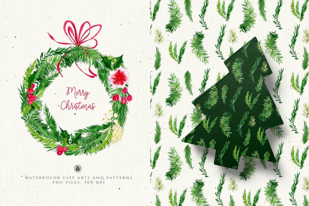 圣诞节水彩装饰元素/圣诞树图案素材Christmas Decorations 2F4YD65插图