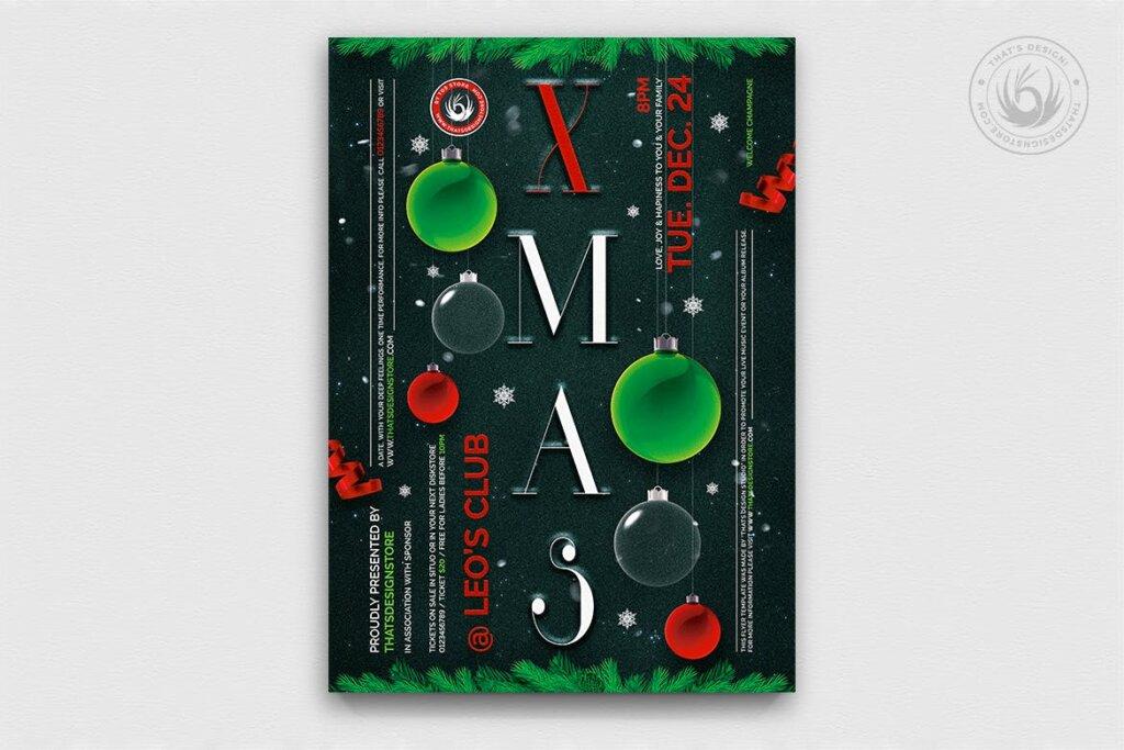 精致文艺平安夜/圣诞节传单海报模板Christmas Eve Flyer Template V13插图