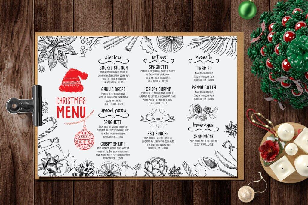 圣诞节餐饮品牌菜单传单海报模板Christmas Menu Restaurant TemplateZ4F4AZ插图