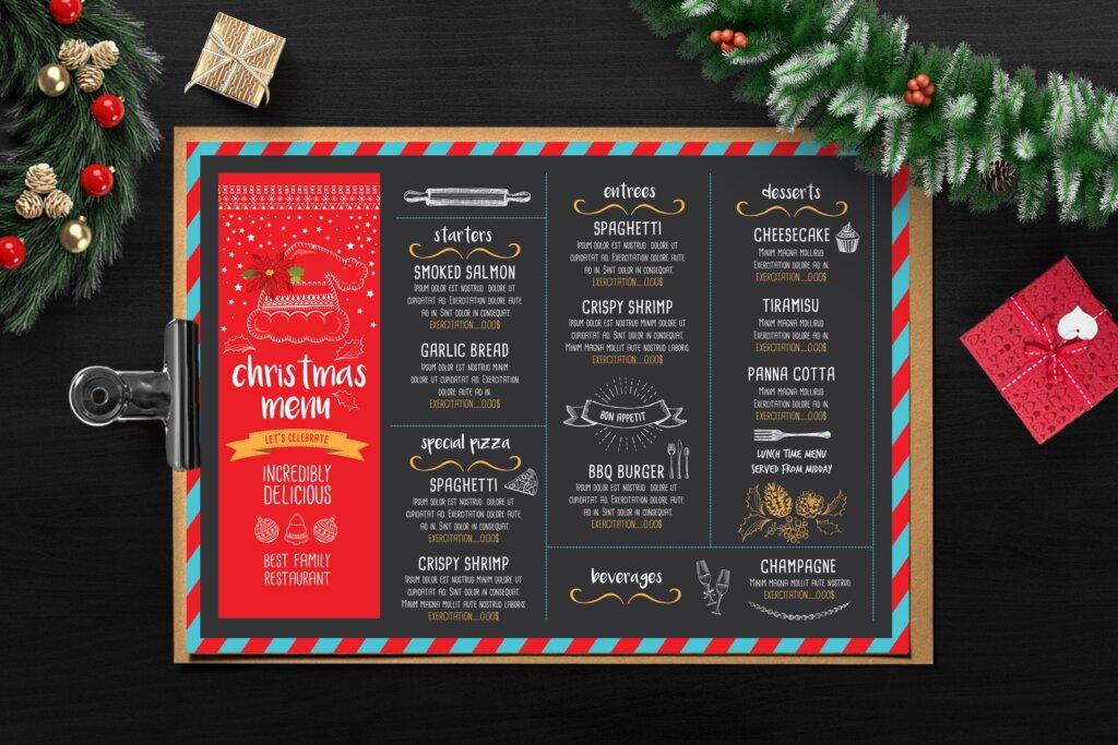 餐饮品牌黑色设计风格圣诞菜单餐厅海报传单模板Christmas Menu Restaurant Template T8GYVA插图