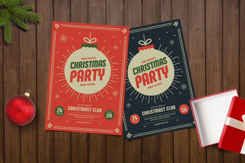 圣诞节海报宣传单素材模板Christmas Party Flyer KY4WS2插图