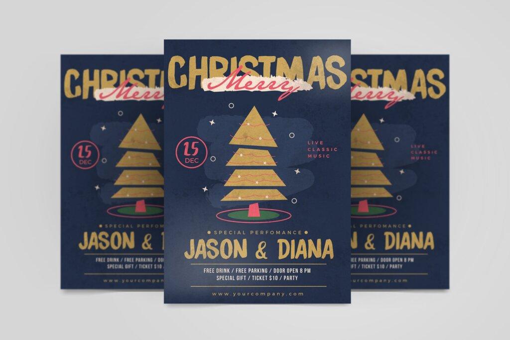 卡通风格场景插画圣诞晚会宣传单海报模板素材下载HBMB024插图