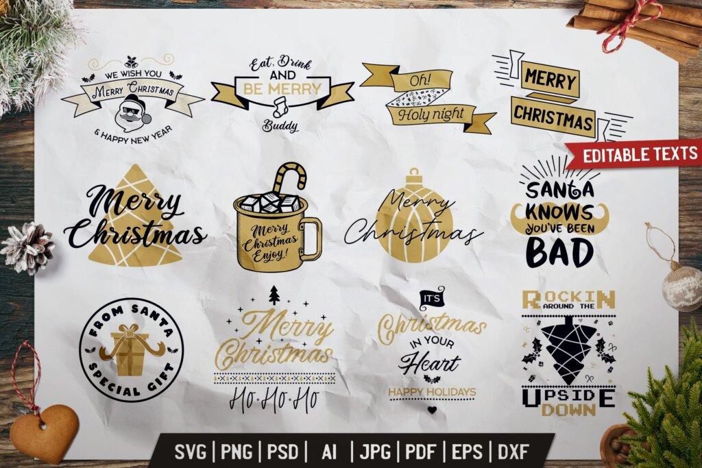 圣诞印花t恤/马克杯装饰图案纹理素材Christmas Prints Design Bundle. Vector Xmas TShirt插图