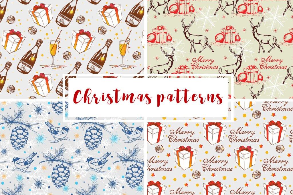 4套复古风格圣诞节装饰图案纹理素材Christmas Seamless Patterns插图