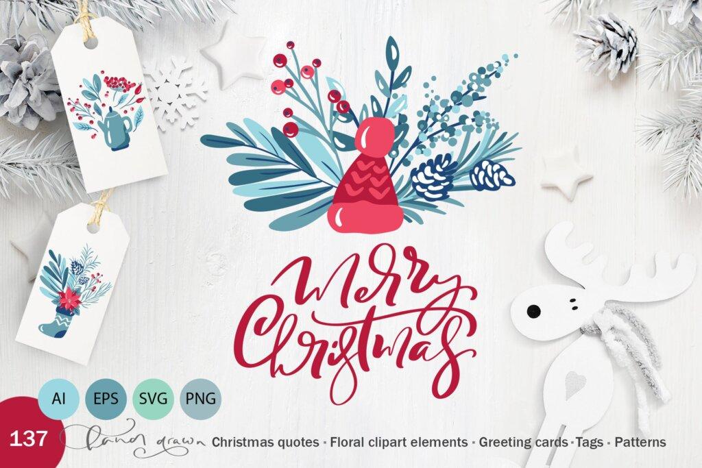 圣诞节花环装饰元素纹理素材/品牌装饰图案素材纹理Christmas floral holiday elements插图