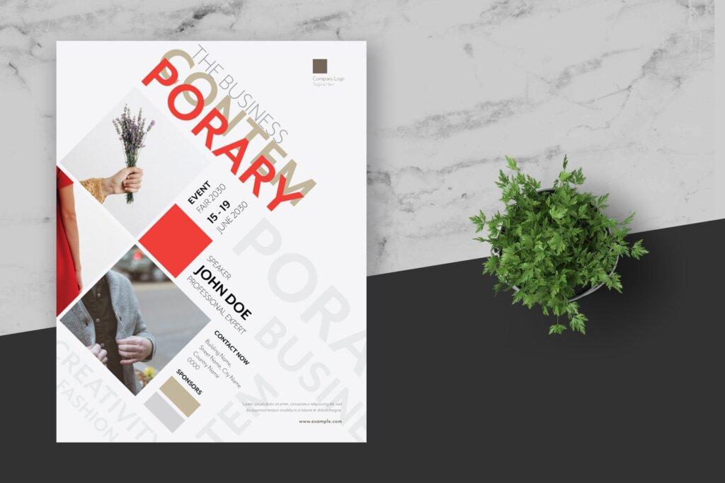 年度分享交流会简约风设计传单海报模板Clean Minimal Creative Event Flyer插图