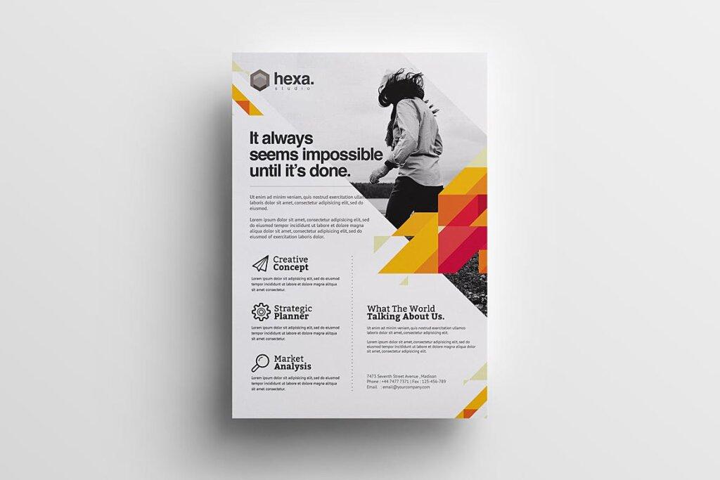 公司商务宣传/产品介绍模板素材下载Creative Corporate Flyer插图