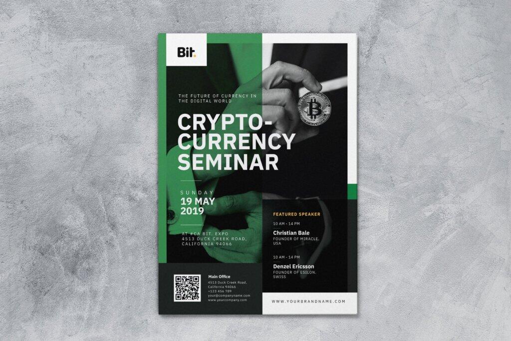 数字加密货币研讨会AI和PSD传单海报模板素材下载Crypto Currency Seminar AI and PSD Flyer Vol 1插图