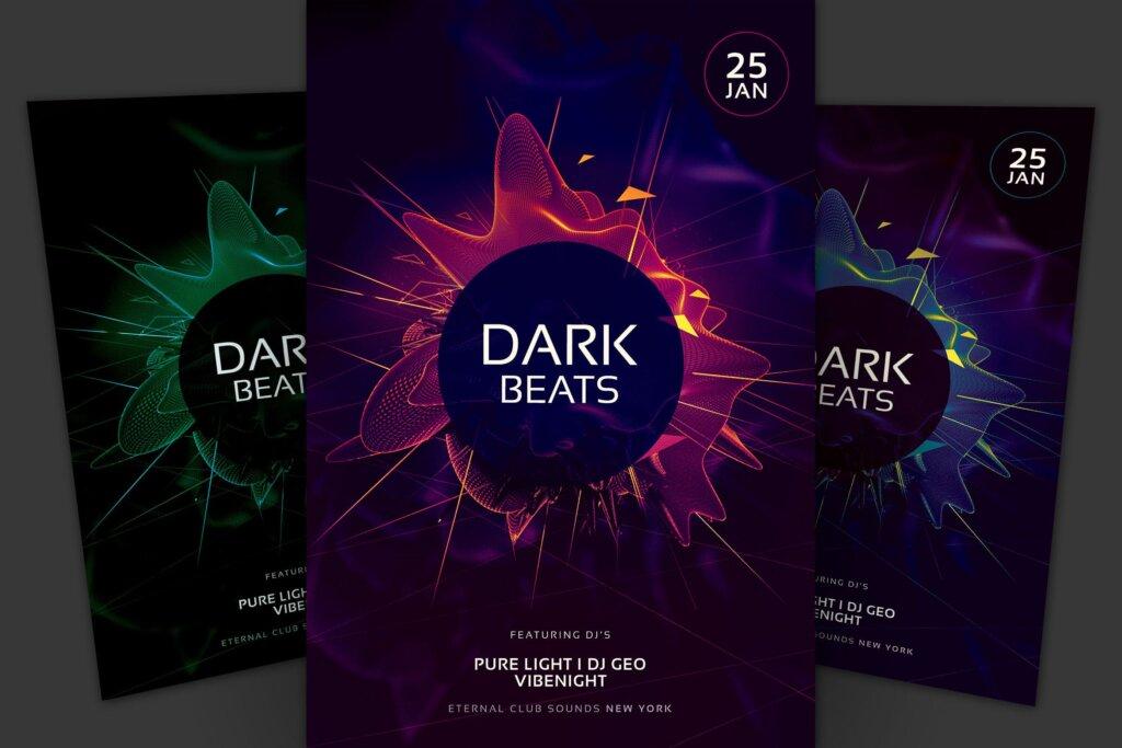 黑色主题风格俱乐部派对/舞蹈派对海报传单模板Dark Beats Flyer CHZKMV6插图