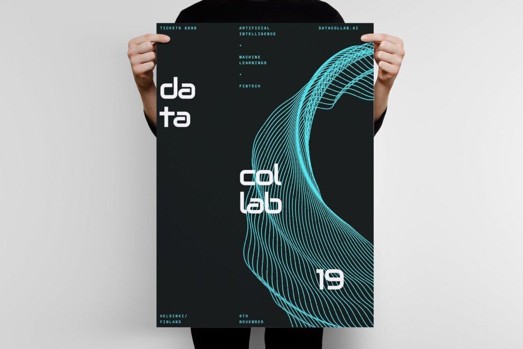 粒子线条发布会传单海报模板素材下载Data Collab Poster Template 3插图
