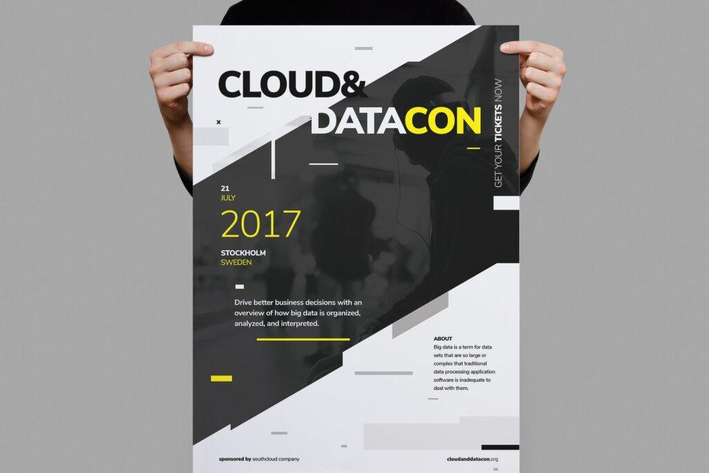 几何版式会议传单海报模板素材下载Datacon Conference Poster Flyer插图
