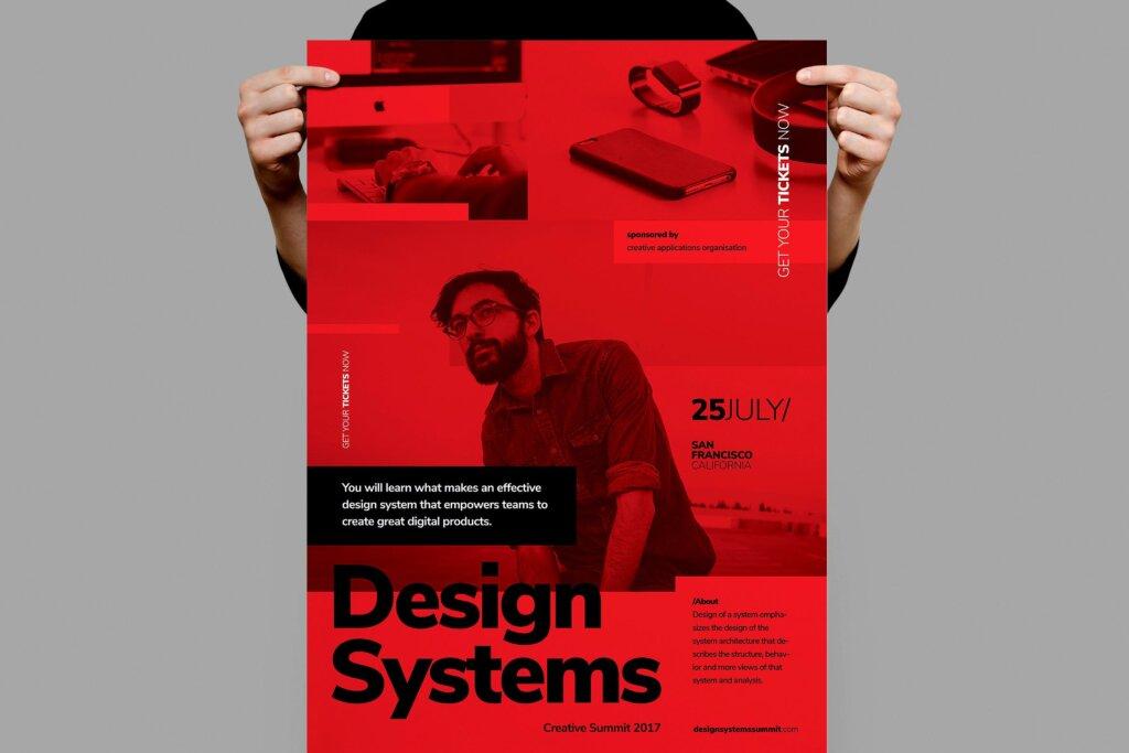 文艺时尚会议海报传单模板素材下载Design Conference Poster Flyer插图
