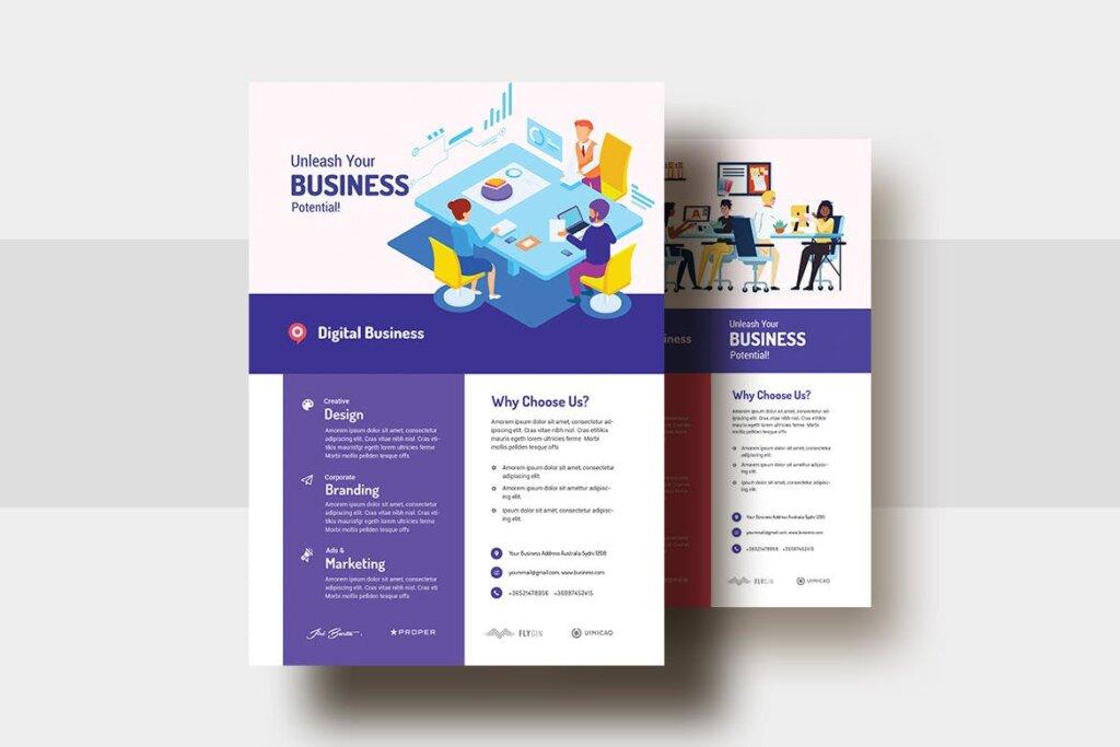 2.5D矢量插画商务会议海报传单模版素材下载Digital Agency Business AD Flyer V 29插图